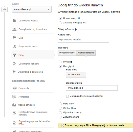 Google Analytics - filtr