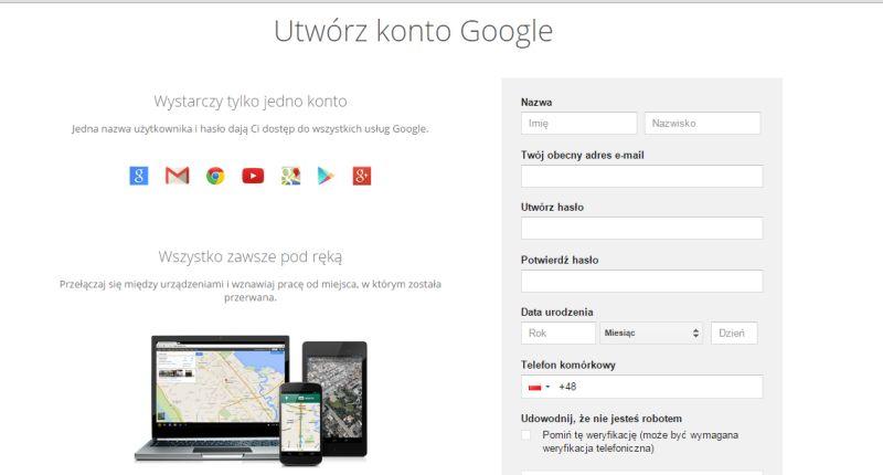 nowe konto Google